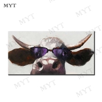 MYT Cow Wearing Sunglasses Abstract Oil painting on Canvas Professional Art Poster Wall Picture for Living Room Home Decoration