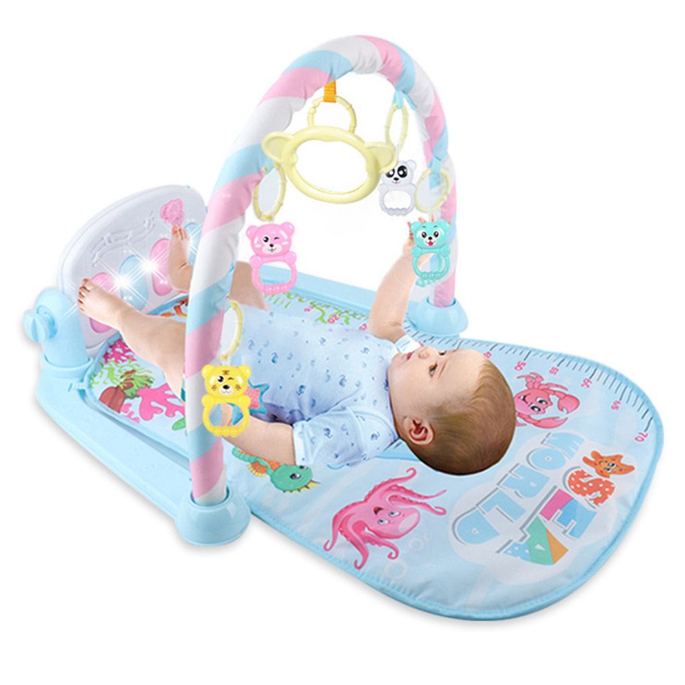Newborn Baby Fitness Bodybuilding Frame Pedal Piano Game Carpet Kids Rocking Chair Activity Kick Play Education Toy