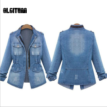 OLGITUM 2017 New Fashion Spring Slim Jeans Jacket Female Casual Long Sleeve All-Match Zipper Denim Outerwear JK451