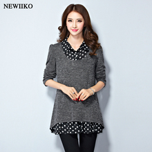 Women Spring Autumn Winter Pullovers large size loose False Two Piece Shirt Stitching Sweater Lapel Tops