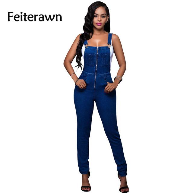 Feiterawn 2017 Moda Lavagem Denim Mulheres Em Geral Moda Jeans Macacão Calças Compridas Macacão Feminino Longo DL64173