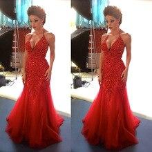 2016 Halter Abendkleid Tulle Perlen Mermaid Abendkleider Lange Abendkleider New vestido de festa