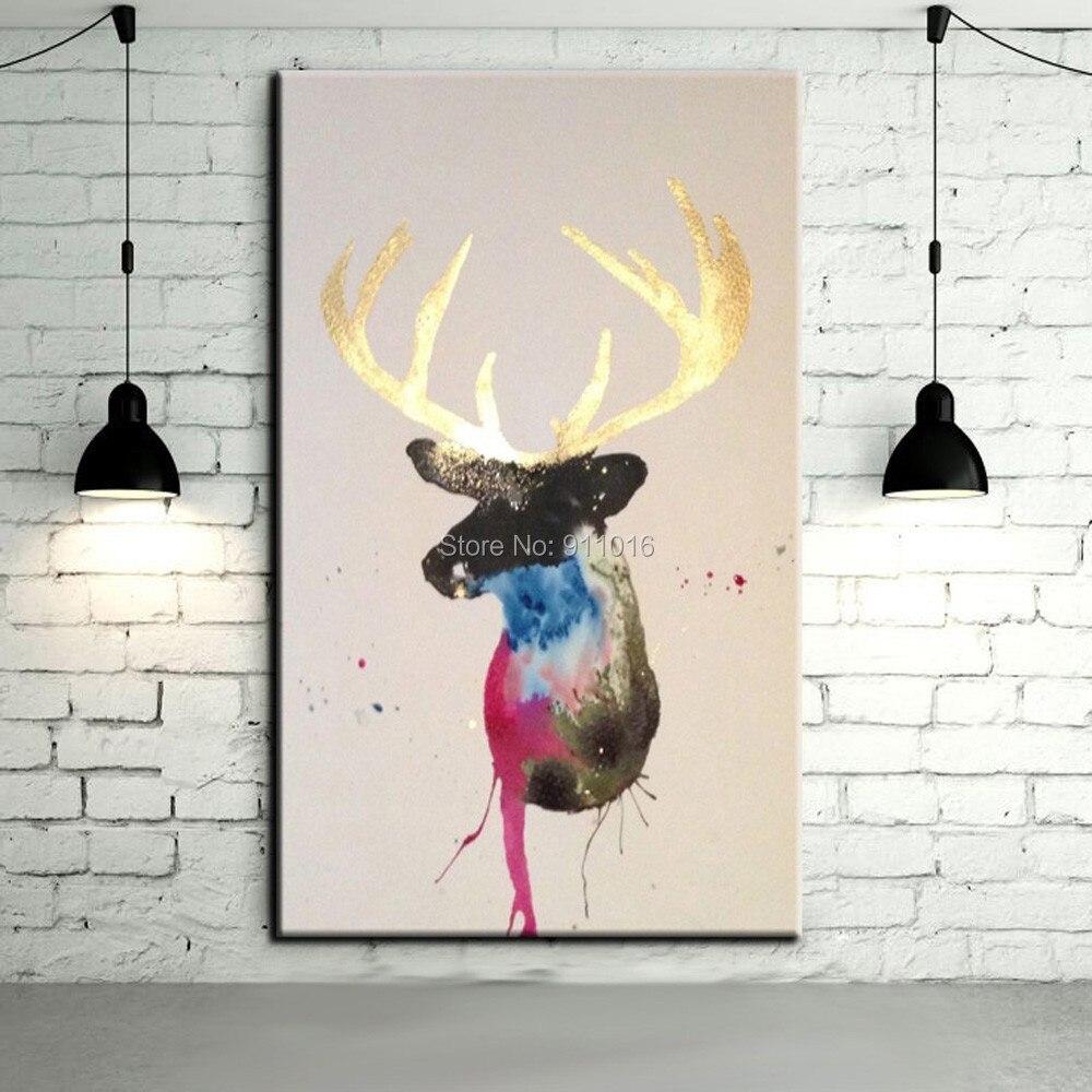 Hand painted golden horn deer paintings wall painting for Laminas para enmarcar baratas