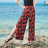 Women Vintage Printed Wide Leg Pants Side Split High Waist Fashion Sexy Beach Pants femme Skirt pants Boho Trousers