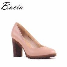 Bacia Platz Heel pumps Aus Echtem Leder Schuhe Für Frauen Luxus qualität Heels Runde Zehe Slip On Brautschuhe Russion Größe VA003