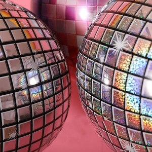 """Image 5 - Ballon holographique en papier daluminium pour fête danniversaire et mariage, ballon Disco argent, 22 """"4D, grande sphère gonflable, suspendus"""