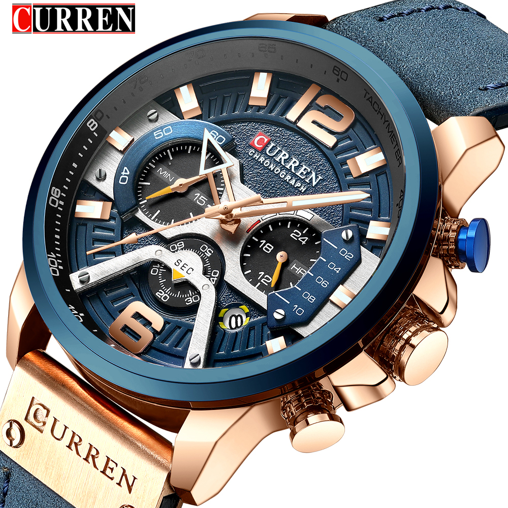 CURREN Casual Sport Watches for Men Blue Top Brand Luxury 8329 Leather Wrist Watch Man Clock