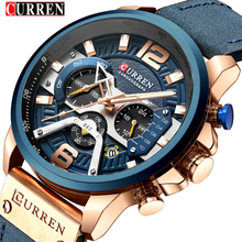 أفضل العلامة التجارية الفاخرة 8329 CURREN ساعات رياضية غير رسمية للرجال الأزرق ساعة معصم جلدية رجل ساعة الموضة ساعة اليد كرونوغراف