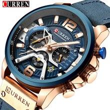 トップブランドの高級 8329 カレンカジュアルスポーツは男性用腕時計ブルーレザー腕時計男性時計ファッションクロノグラフ腕時計