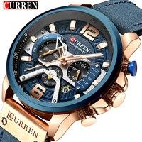 CURREN Casual Sport Horloges voor Mannen Blauw Top Merk Luxe 8329 Lederen Polshorloge Man Klok Fashion Chronograph Horloge