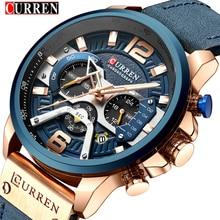 Meilleure marque de luxe 8329 CURREN Sport décontracté montres pour hommes montre bracelet en cuir bleu homme horloge mode chronographe montre bracelet
