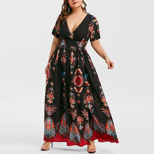 Plus Size Women Long Dress Ladies Sexy Butterfly Printed Deep V-Neck Short Sleeve Open Fork Casual Maxi Dress vestidos Robe 2019