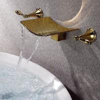 ทองเสร็จสิ้นน้ำตกอ่างน้ำก๊อกน้ำพวยW All M Ount 3หลุมอาบน้ำผสมแตะT Orneiras Banho Cozinhaวาล์วน้ำก๊อกน้ำห้องน้ำ