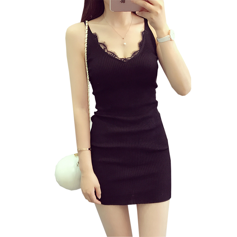 Sexy Women Sleeveless Dress Women New Summer Slim Lace Dresses Female Package Hip Ladies Black Pink Knitted Dresses FP0353