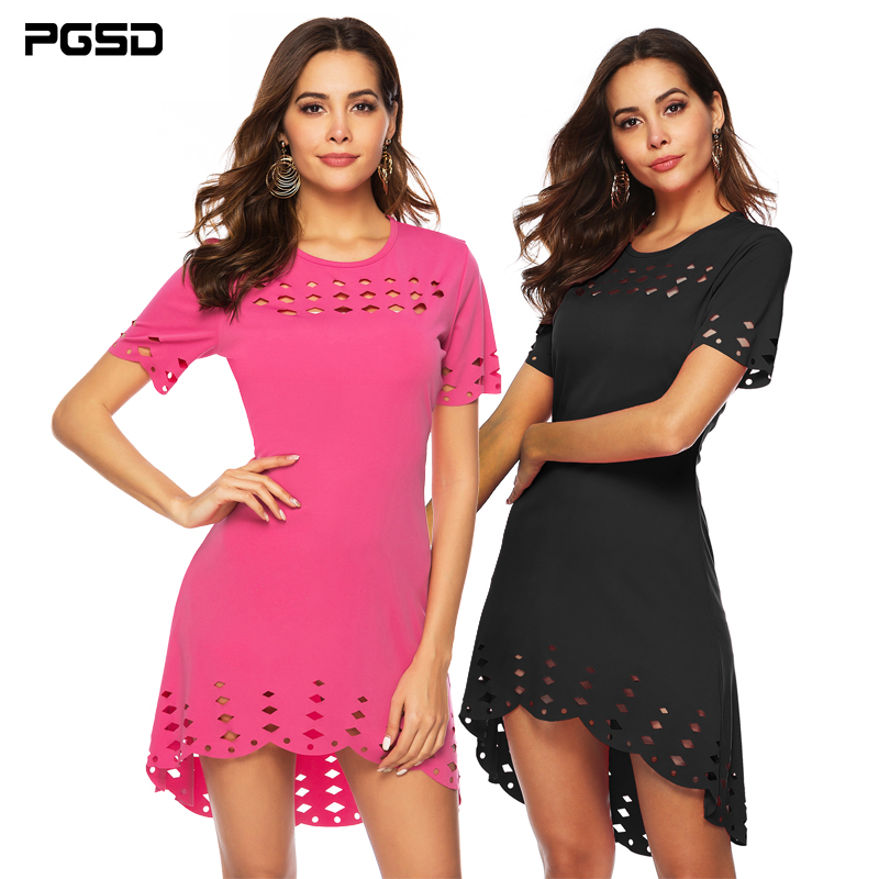 PGSD Summer Hollow-out short-sleeved slim O-neck irregular Hip casual Dress female Simple Fashion solid Colored Women Clothes