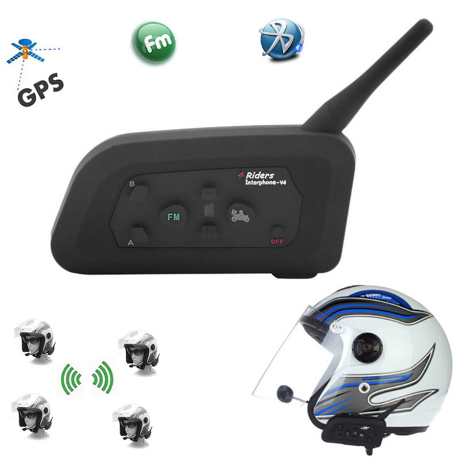 Vnetphone V4 1200M Motorcycle Helmet BT Intercom Bluetooth Headset 4 Riders Bikers Skiers FM Waterproof Interphone Ear Headphone 2pcs bt s2 intercom 1000m motorcycle helmet bluetooth wireless waterproof headset intercom earphone 2 riders interphone fm radio