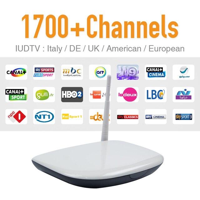 Set Top Box Caixa de Tv Android Caixa de Tv Q1304 Set Top Box com Um Ano de Europa Canais Árabes Iptv Apk IUDTV Europa Completa 1700 canais