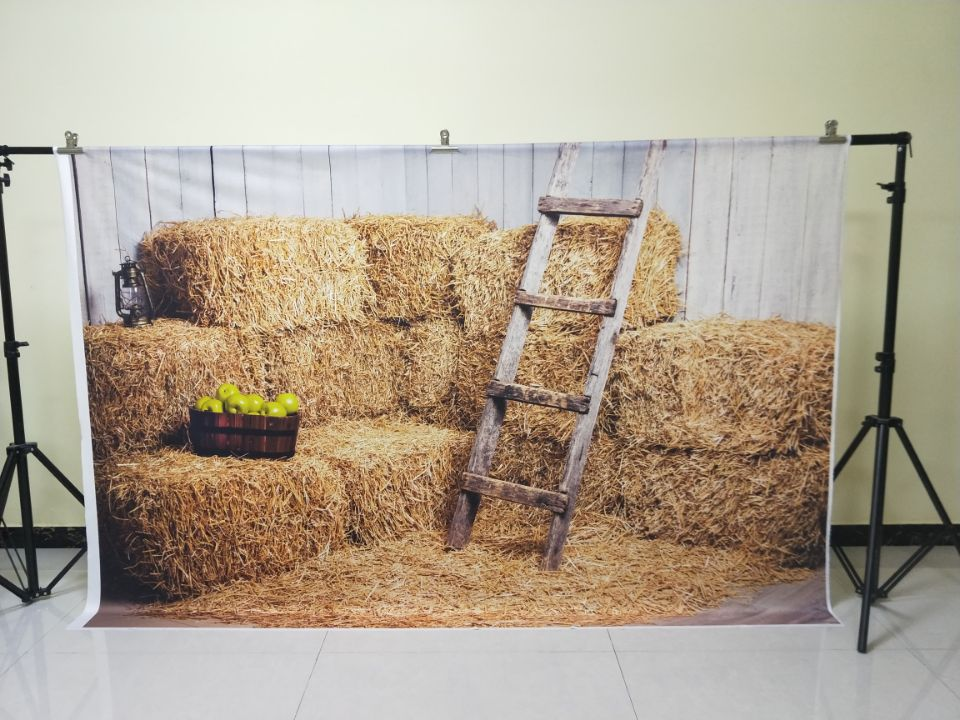 HUAYI 5x10ft Cotton Polyester Farm Haystack Photography Backdrop Washable Photo Studios Baby Props Background KP-056 grainstack haystack at the sunset near givernyрепродукции моне 45 x 30см