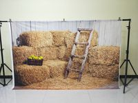 HUAYI 5x10ft Cotton Polyester Farm Haystack Photography Backdrop Washable Photo Studios Baby Props Background KP 056