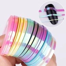 21 pièces BORN QUEEN sirène ongle Striping bande ligne autocollant couleur bonbon adhésif décalcomanies bricolage Nail Art manucure décoration