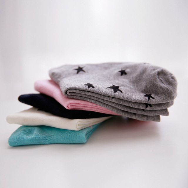 5 Pairs Star Print Cotton Socks
