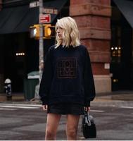 NAVY Sweatshirt Round NECK FRONTN VELVET Graphic LOGO Print Drop shoulder Loose Pullover Tops Casual Sweat shirt for woman