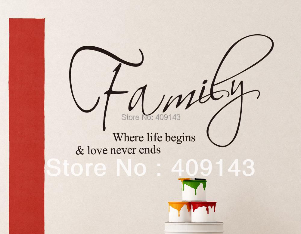 Small Wall Art family where life begins small wall art stickers quotes home