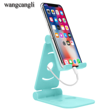 Wangcangli new plastic aluminum alloy tablet mobile phone holder for iPhone 8 Plus folding lazy charging bas
