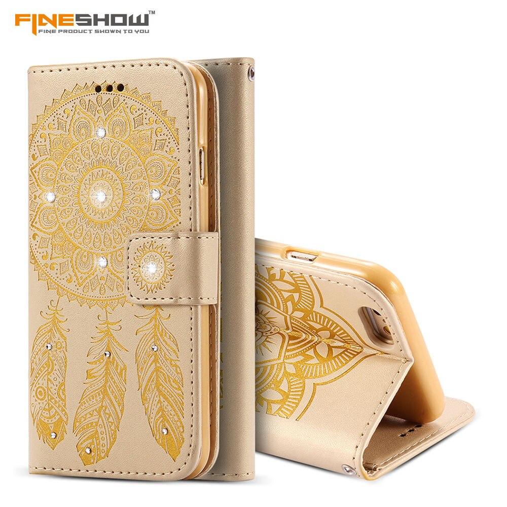 Korea Dream Catcher Pattern Palace Flower Design Flip Wallet Phone Case For iPhone 6 6s 6plus 6splus PU-Leather Card Slot HU898