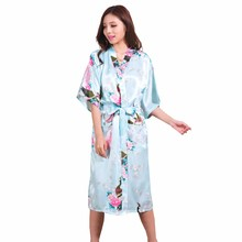 Brides Wedding Robe Sleepwear Satin Robes Silk Pijama Casual Bathrobe  Animal Rayon Long Nightgown Women Kimono 5df55605b