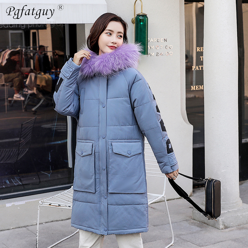f97f234d30db4 Winter Women Parka 2018 Big Pocket Casual Letter Print Plus Size Thick Warm  Jacket Coat Female Long Hoodies Big Fur Collar Parka