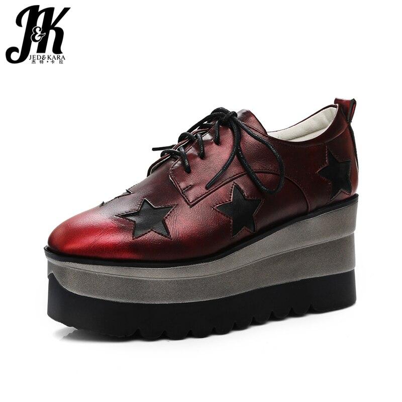 JK Big Size 34-42 Fashion Square Toe Rubber Sole Platform Shoes Woman 2018 New Band Spring Lace Up Pumps Leisure Wedges Sneaker