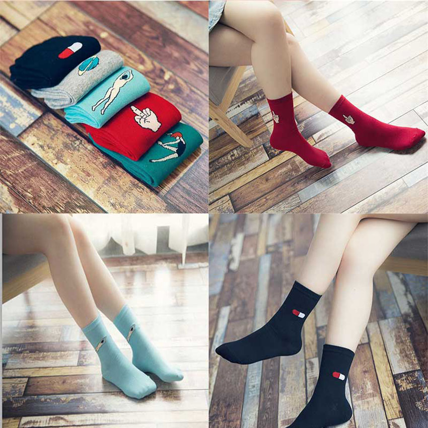 New Harajuku Women Cartoon Long Socks Japanese Novelty Pill Star Patterned Sock Hiphop Colorful Pure Cotton Cool Socks lqq