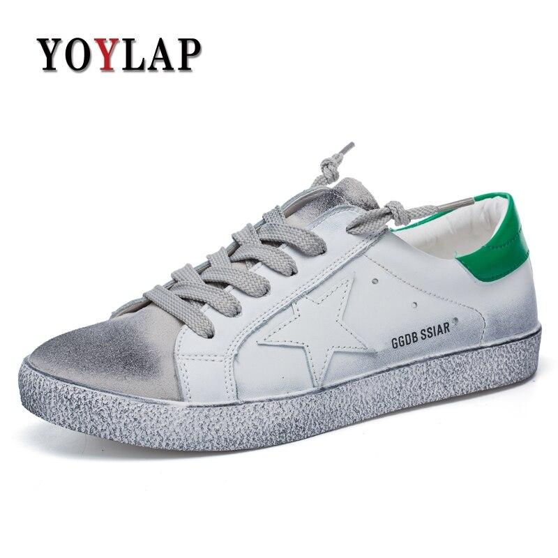 Unisexe 2018 offre spéciale Printemps Eté Hommes décontracté chaussures vrai cuir Hommes baskets respirantes Blanc chaussures pour hommes Plat