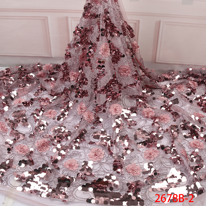 Latest African Laces 2019 Luxury Fabric French Lace With Sequins for Lace Fabric Embridery Tulle Bridal
