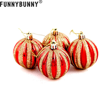 FUNNYBUNNY 6PCS Holiday Time Christmas Tree Ornaments Pumpkin-Style 6cm ball party decorations Supplies