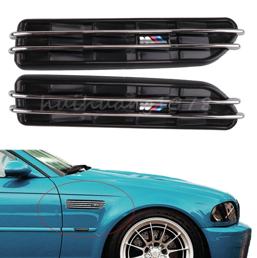 Bmw Exterior: 2x Black Decorative Front Fender Side Vent Grill Self