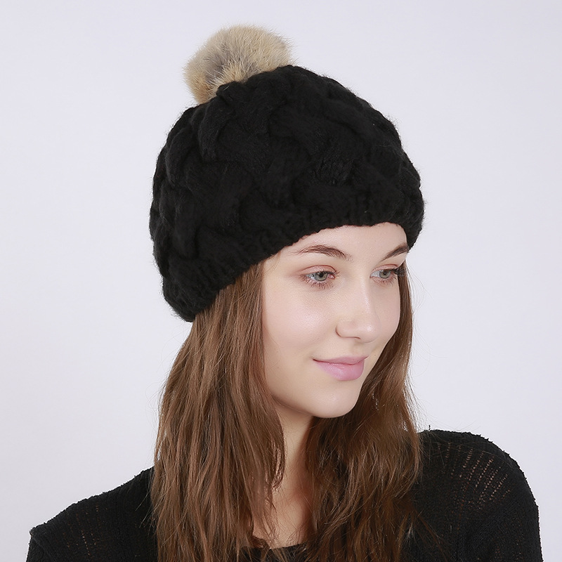 Rabbit Fur Pompoms Winter Cap Women Knitted Beanies Warm Cap Fashion Female Faux Fur Hat Casual Skullies Beanies Slouchy Hats