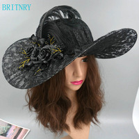 BRITNRY Vintage Black White Hat Lace with Feathers Flower Hat High Quality Women Wedding Hats