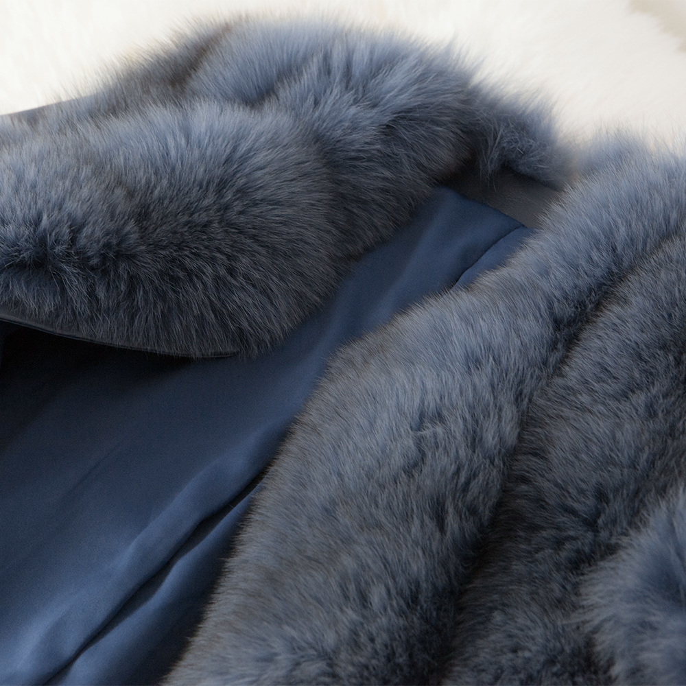Zorro Genuino blanco Piel Oveja negro Lujo Oftbuy Mujer Beige azul rosado Real Abrigo Chaqueta Invierno De Bombardero Natural Cuero Parka Coreana gris 2019 gris Oscuro Streetwear 17fzwq