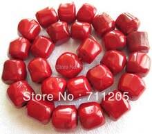 """14-16mm Rojo coral Freeform suelta perlas 15 """", Min. Orden de $10, proporcionar mayor mezclada para todos los artículos!"""