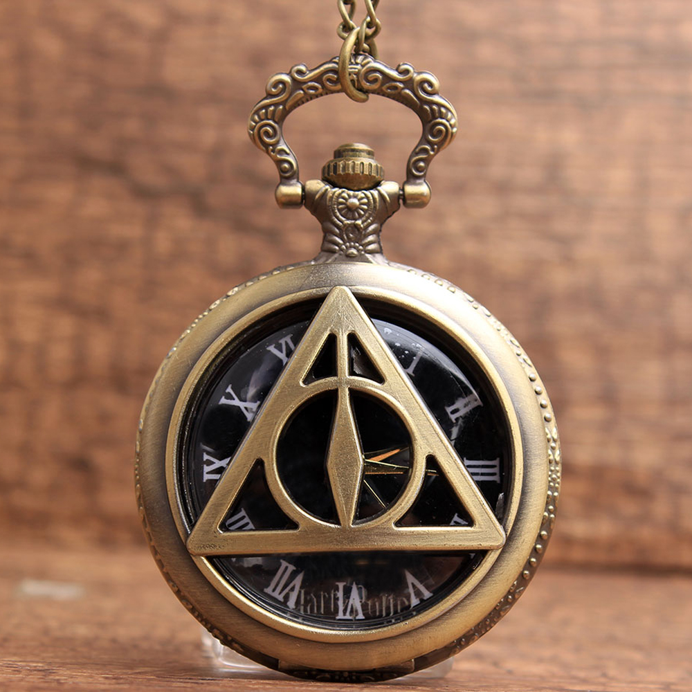 Retro Triangle Shape The Deathly Hallows Harry Potter Black Roman Numbers Quartz Pocket Watch With Chain Men Boys Christmas Gift