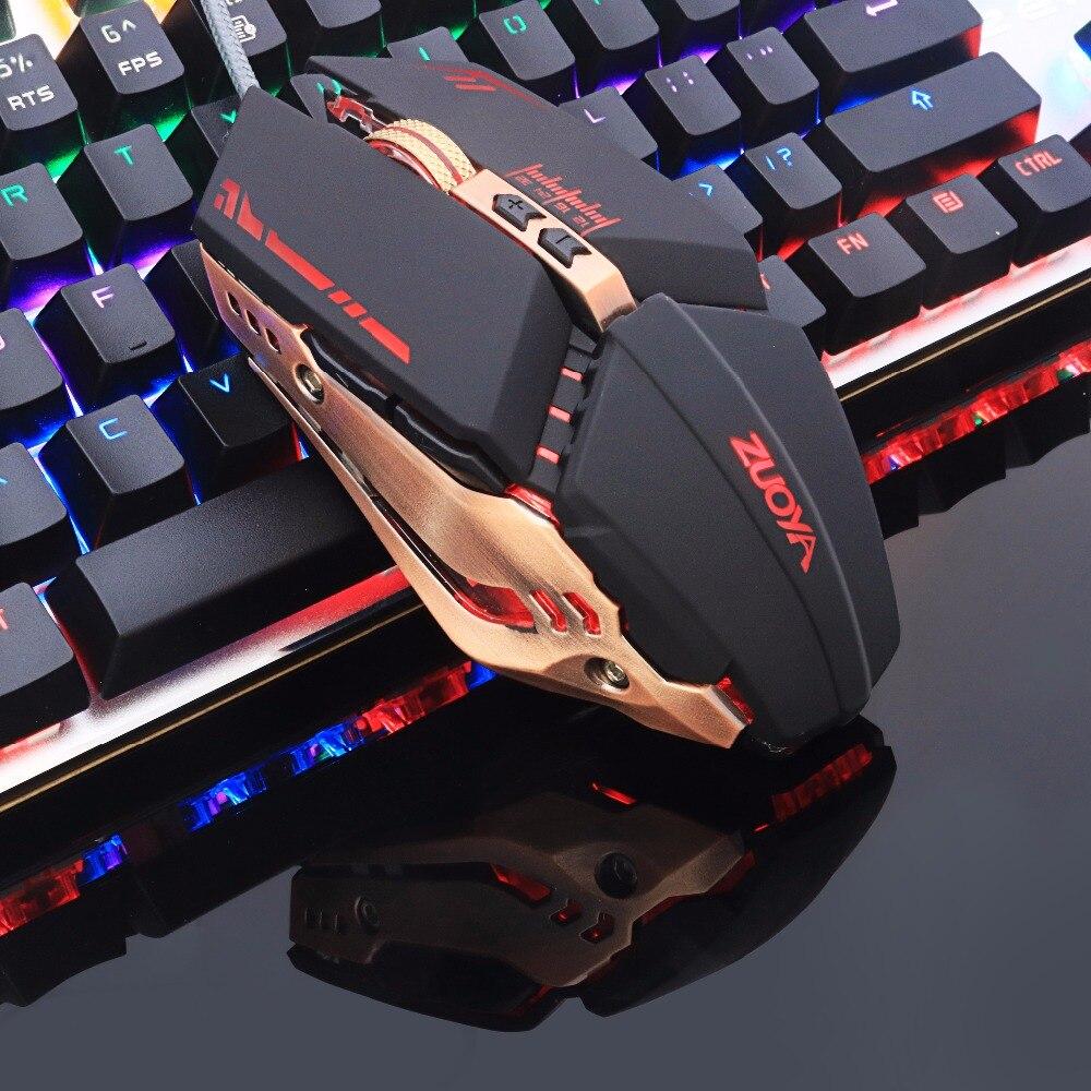 ZUOYA profesional gamer Gaming Mouse 8dpi 3200 ajustable con Cable óptico LED ordenador ratones USB Cable Mouse para ordenador portátil PC