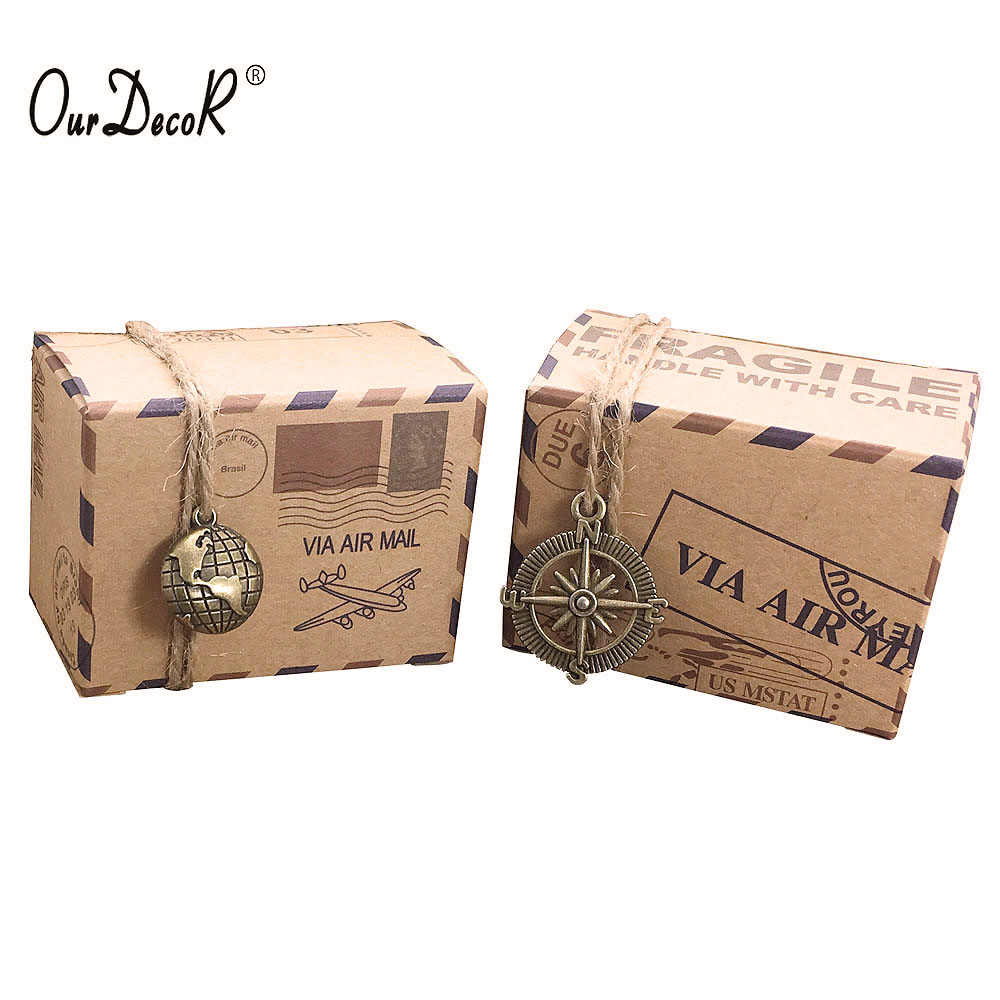 100pcs Vintage Favors Kraft Paper Candy Box Travel Theme Airplane ...