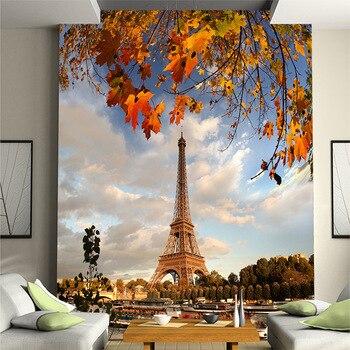 Customized Golden building Eiffel tower set TV sofa background wallpaper behind  living room porch corridor