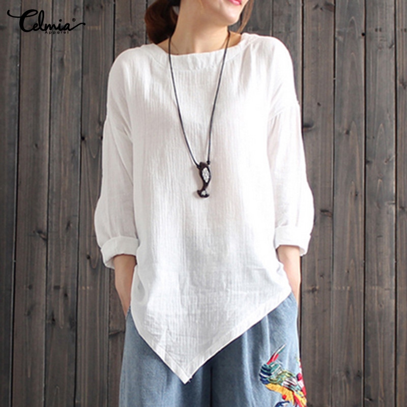 Celmia 2018 Autumn Women Blouses Vintage Linen Cotton Tops Casual Long Sleeve Asymmetric Shirt Solid Blusa Femininas Plus Size