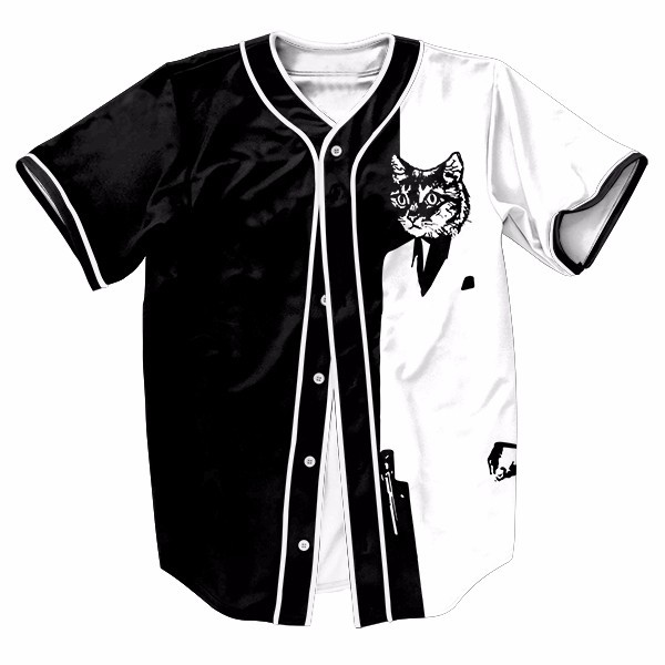 Black with White Cute Cat Mens Buttons Homme Baseball