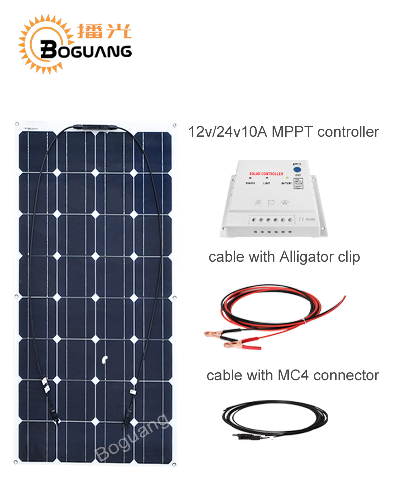 Boguang 100w solar panel Monocrystalline silicon cell 12v/24v/10A MPPT controller DIY kit module cable MC4 connector for battery boguang 50w flexible solar panel high efficiency monocrystalline silicon cell 10a controller cable for 12v battery rv yacht car
