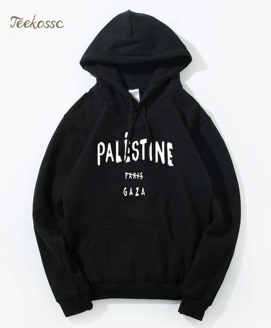 Gaza Palestine Paris 5sos Design Hoodie Men Funny Print Hoodies Mens New Brand Hooded Sweatshirt 2018 Winter Autumn Loose Hoody