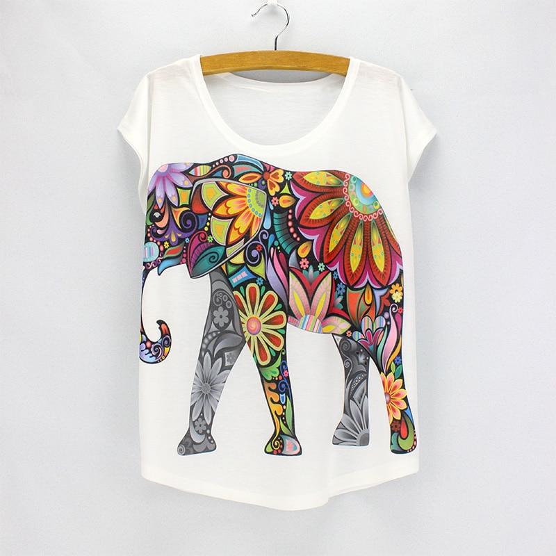 HTB1Kvy7LVXXXXaeaXXXq6xXFXXXP - New fashion Flower Elephant printed t shirts women summer tees